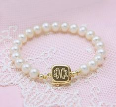 14kt Gold Baby's First Pearls- pearl bracelet with engraved 14kt safety clasp. Gift Idea.
