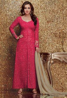 Dia Mirza Fuchsia Embroidered Suit