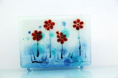 Fused Glass napkin holder  blooming landscape by virtulyglass, $40.00