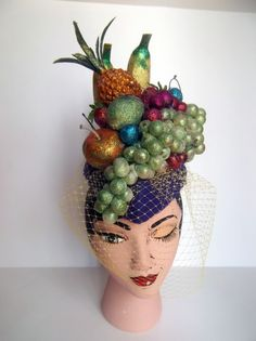 Carmen Miranda Fruit Hat Pillbox Cocktail Hat by ChefBizzaroWell I'm home after a emergency trip home (funded by derby hat sales thank the hat gods for that). I won't go into it because relieved the travel issues gives me a headache and I&Fun fru Carmen Miranda Costume, Brazil Party, Havana Nights Party, Havana Party, Hat Blocks, Crazy Hats, Cocktail Hat, Hats For Sale, Pill Boxes