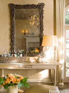 Basket bar. Design: Lawrence Rizkowsky. housebeautiful.com. #home_bar #basket #wicker_basker