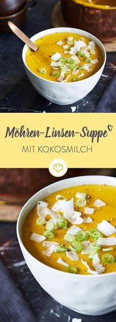 Schnelle Möhren-Linsen-Suppe mit Kokosmilch - - Schnelle Möhren-Linsen-Suppe mit Kokosmilch Heiße Suppen für kalte Tage Warmth from the inside: This delicious carrot and lentil soup becomes a soothing meal with coconut milk and a handful of spices. Healthy Eating Tips, Healthy Nutrition, Healthy Milk, Carrot And Lentil Soup, Soup Recipes, Vegan Recipes, Lentil Recipes, Coconut Milk Soup, Coconut Cream