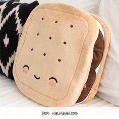 Kawaii S'mores Pillow <3 Follow Kigu Kawaii for more cute stuff! #kigukawaii #cute #kawaii #smore #pillow #warmer #plush #dessert #cool #sweet #comfy #soft