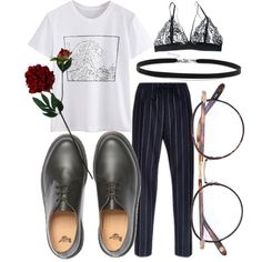 A fashion look from February 2018 featuring Reverse bras, Dr. Martens ankle booties and BillyTheTree necklaces. Browse and shop related looks.