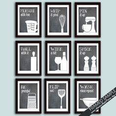 Funny cuisine Art Print Set de 9 estampes par KITCHENBATHPRINTS