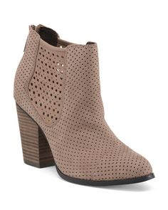Perforated Leather Booties - Boots - T.J.Maxx | @giftryapp