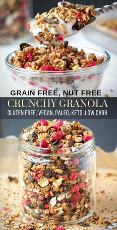 Crunchy Healthy Granola Cereal (Keto, Nut Free, Low Carb, Paleo, Vegan, Gluten Free & Oil Free) – An easy homemade healthy granola recipe full of crunchy clean ingredients with the option to make it a low calorie and sugar free breakfast addition, no nuts and no oil here. A gluten free, vegan, low carb, paleo and keto granola that's delicious on its own or served with dairy free milk, yogurt, smoothie or ice cream.