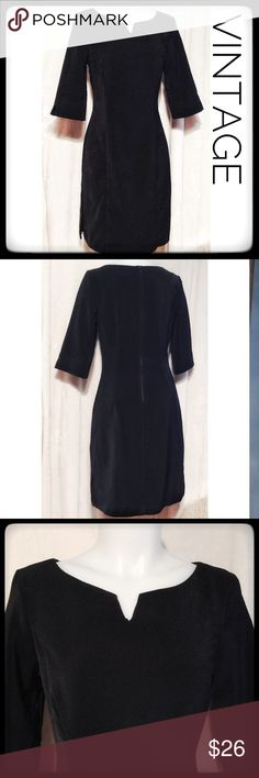 👠Vintage Black Dress👠 Jodi Kristopher SZ 9 Classic black vintage 90's dress by Jodi Kristopher. This black dress is 100% acetate, with a super soft feel and a give to fabric that is very flattering. This dress is not Lined, but has the thick acetate material that makes it lay nicely. The half sleeves are complimented by the v details along with the neckline. This dress is in good condition and ready to enjoy. Jodi Kristopher Dresses