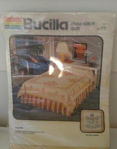 """Bucilla Quilt Kit Double 80"""" x 96"""" Flower Tulip Lancaster"""