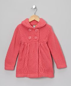Pink Cable Knit Babydoll Peacoat - Toddler & Girls by Petit Lem