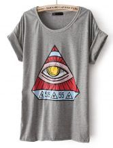 Grey Short Sleeve Triangle Eye Print T-Shirt #SheInside