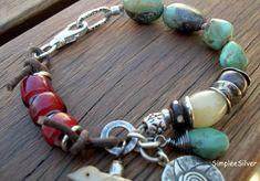 Artisan Jewelry - Leather Bracelet - African Trade Bead Bracelet - Rustic Bracelet - Sundance Style Bracelet. $182.00, via Etsy.