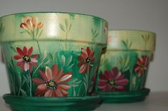 free images to paint on clay pots   Hand Painted 4'' flower pots