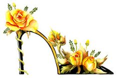 Fine Art Print Flower Shoes -Watercolor The yellow rose of Texas.  TG