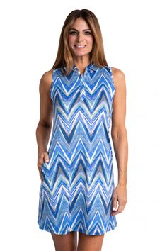 #lorisgolfshoppe Women's Golf Apparel offers a classy collection of golf skorts, shorts, dresses, and golf tops. You gotta see this RIVIERA (Multi Abstract) Sport Haley Ladies Pier Sleeveless Print Golf Dress with unique , pretty colors!