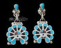 Zuni Native American Silver Earrings - (ij401)