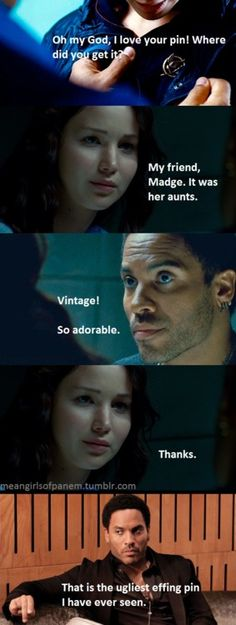 Bitchy Cinna hates your pin #katniss #hungergames #meangirls