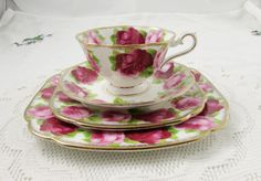 Royal Albert Old English Rose Place Setting - 4 Pieces: Tea Cup, Saucer, Bread and Butter Plate and Luncheon Plate - Vintage Bone China