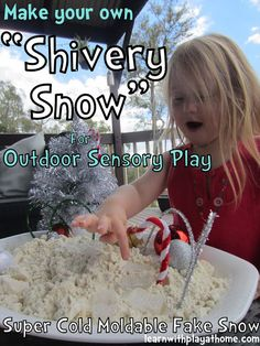 """Make your own """"Shivery Snow"""" for Outdoor Sensory Play. Super cold, moldable fake snow! Easy and fun."""