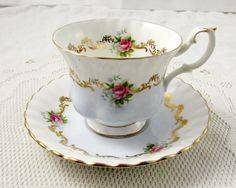 Royal Albert Pale Blue Invitation Series Tea Cup and Saucer, Gold Border and Pink Roses, Vintage Bone China