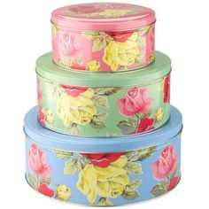 Absolutely gorgeous metal floral print storage tins.