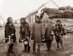 Berry Pickers. The picture was taken near Nome, Alaska in the early 1900's.