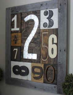 Rustic Number Sampler I created using scrap wood.   Visit & Like our Facebook page! https://www.facebook.com/pages/Rustic-Farmhouse-Decor/636679889706127
