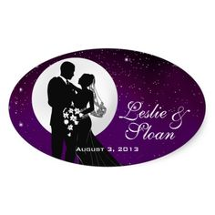 Enchanted Evening Nighttime Wedding Favor Oval Stickers