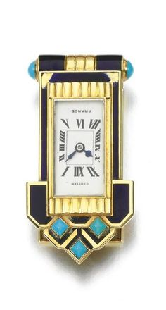 Enamel and turquoise dress clip watch, Cartier, 1930s Of geometric design, decorated with blue enamel and turquoise cabochons, framing a rectangular dial applied with Roman numerals, dial signed Cartier, numbered, French assay and maker's marks, partial British assay marks, fitted case stamped Cartier, mechanical movement.