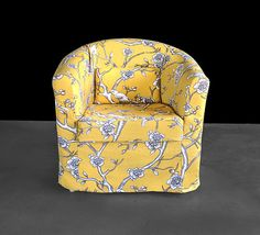 Vintage Style Flower Print Ikea Tullsta Chair Cover Citrine
