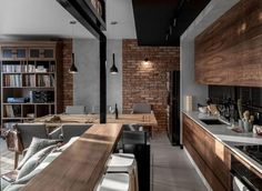 45 ideas for house interior kitchen exposed brick Luxury Kitchen Design, Interior Design Kitchen, Brick Interior, Luxury Kitchens, Loft Design, Küchen Design, Design Ideas, Casa Loft, Brick And Wood