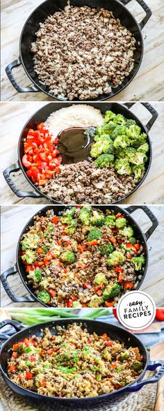 One Pan Teriyaki Beef & Rice · Easy Family Recipes - YUM! This Teriyaki Beef and Rice Skillet is seriously the tastiest easy ground beef dinner we hav - Easy Delicious Dinner Recipes, Quick Easy Dinner, Ground Beef Recipes For Dinner, Dinner With Ground Beef, Pork Recipes, Asian Recipes, Skillet Recipes, Recipies, Healthy Recipes