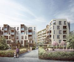 Alison Brooks Architects _ Durham & Gloucester Court _ South Kilburn Estate Regeneration _ Visualisation Frontal