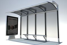 """The advertising frame, the seat and the beams for the shelter are probably all extrusions. The shelter beams will either have channels for the polycarbonate """"glass"""" or lips for them to be riveted/bolted to. Metal Extrusion, Bus Stop Design, Bus Stand, 3d Model Architecture, Quality Street, Dreams Beds, City Model, Street Furniture, Autocad"""