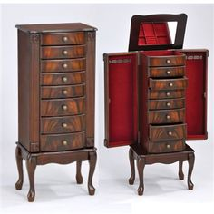 Vivan Transitional Jewelry Armoire 2 Doors 7 Drawers in Cherry Finish