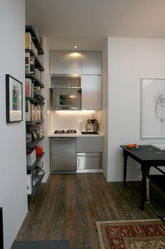 Kitchen Tour: An Ultra-Sleek, Ultra-Micro Kitchen Micro Kitchen, Compact Kitchen, Small Apartments, Small Spaces, Small Space Living, Corner Sofa And Chair, Mini Loft, Deco Studio, Micro Apartment