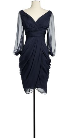 Silk Chiffon Dress- with added accessories this would be a wonderful winter dress.