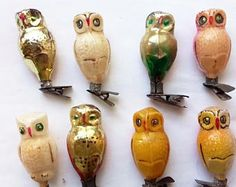 8 owls Christmas glass ornament, Antique Christmas ornament, Vintage Soviet 1960s Christmas, Christmas decor,Retro Tree decoration,