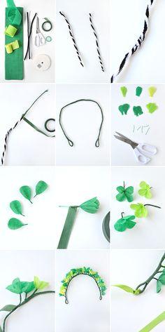 www.papiers-urbains.fr vous aide à réaliser une couronne de trèfles pour la St Patrick © Oh happy day