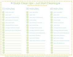 CLEAN-IT-UP ~ CHECK-IT LIST  A quick cleaning of your house! by jenna