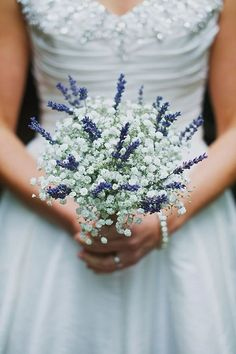 elegant lavender wedding bouquet with gypsophlia