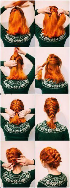 Faux braid updo for shorter hair