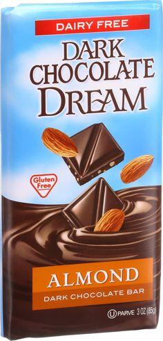 Dream Bar Chocolate Bars - 100 Percent Dairy Free - Dark Chocolate - Almond - 3 oz Bars - Case of 12