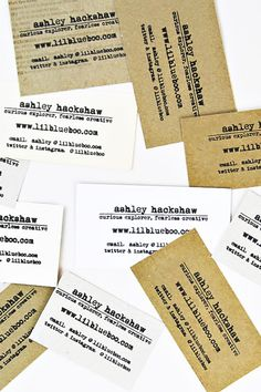 Recycled Business Cards made from mail and discarded boxes via Ashley Hackshaw / Lil Blue Boo #businesscards #recycled #diy