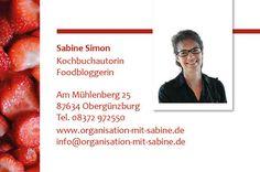 """Organisation mit Sabine: Meine neuen """"Food""""-Visitenkarten"""