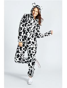 Womens//Ladies Rabbit Print Fleece Hooded Onesie All in One Jumpsuit Pyjamas Charcoal Size 8-18