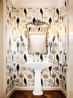 Graphic wallpaper in elegant bathroom Bathroom Wallpaper Luxury, Wallpaper Accent Wall Bathroom, Powder Room Wallpaper, Graphic Wallpaper, Bird Wallpaper, Pattern Wallpaper, Large Print Wallpaper, Painted Wallpaper, Amazing Wallpaper