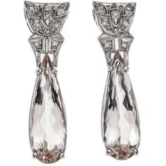 Preowned Pear Morganite Diamond Platinum Dangle Earrings, Circa 1940 ($5,995) ❤ liked on Polyvore featuring jewelry, earrings, dangle earrings, multiple, vintage earrings, vintage diamond earrings, pink diamond earrings and long drop earrings