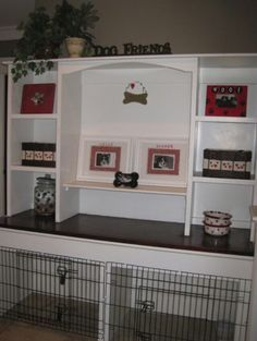 Desk with built in dog kennel(s). Trying to make a more functional office/dog room.