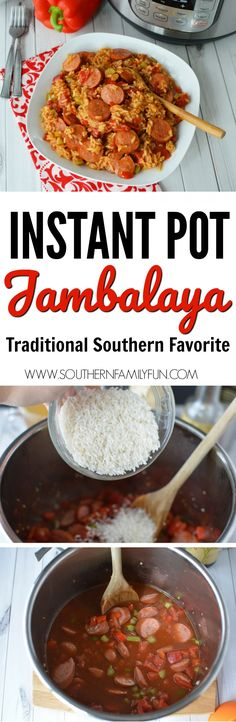 Serve your family this hearty Instant Pot Jambalaya for a hearty Winter dinner. The Southern recipe is one your whole family will love. #InstantPot #IP #JambalayaInstantPot https://www.southernfamilyfun.com/instant-pot-jambalaya/